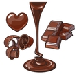 Set of chocolate - heart shaped candy shaving vector image vector image