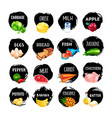 set of food icons isolated on white background vector image vector image