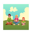 set of girls reading books and using mobile phone vector image