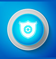 shield with gear icon isolated on blue background vector image vector image