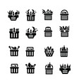 shopping cart with foods icons vector image vector image