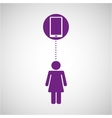 silhouette girl smartphone media icon vector image vector image