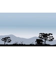 Silhouette of hut with trees vector image vector image