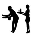 silhouette waiter and waitress vector image vector image