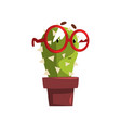 smart cactus character with glasses in a clay pot vector image vector image