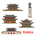 south korea seoul famous architecture facade icons vector image
