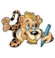 tiger with pencil vector image vector image