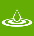 water drop and spill icon green vector image vector image