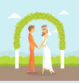 wedding ceremony happy couple newlyweds vector image vector image
