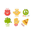 words and cute cartoon characters with funny faces vector image