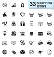 33 black shopping icons vector image vector image