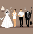 a set of wedding clothes the choice clothes for vector image vector image
