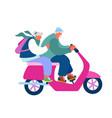 adorable couple cheerful seniors riding vector image vector image