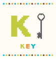 alphabet for children letter k and a key vector image vector image