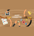 audit committee team work together with hand on vector image
