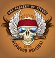 biker skull with knife vector image vector image