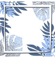 blue tropical leaves with frame vector image vector image