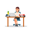 businesswoman working with laptop computer vector image vector image