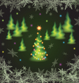 Christmas fir trees and snowflakes vector image vector image