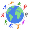 colorful athlete around world vector image vector image