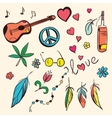 Colorful hand drawn hippie set vector image vector image