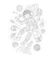 cute hand draw coloring page with brave astronaut vector image