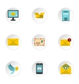 E-mail icons set flat style vector image vector image