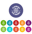 eco flower icons set color vector image vector image