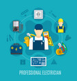 electrician round composition vector image