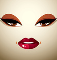 Face makeup lips and eyes of an attractive woman vector image vector image