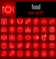 food icon set 1 white line icon on red gradient vector image