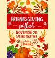 friendsgiving potluck and thanksgiving symbols vector image vector image