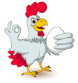 funny chicken holding eggs vector image vector image