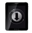 Glass download button icon on abstract tablet vector image