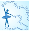 Greeting card with tender ballerina and flowers vector image vector image
