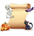 halloween sign with skeleton bat pumpkin vector image vector image