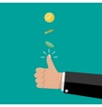 hand of businessman tossing a coin vector image vector image
