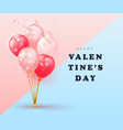 happy valentines day card design with balloons and vector image
