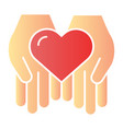 heart in hands flat icon love in arms color icons vector image
