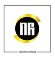 initial nr letter logo template design vector image vector image