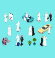 isometric saudi businessmens arab man and woman vector image