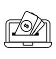 laptop technology money dollar design line vector image