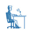 man character sitting working desk computer vector image vector image