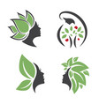mother nature logo woman design set vector image