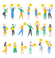 people characters holding gold stars vector image