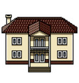pixel art white modern house isolated vector image vector image