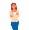 pretty woman in jacket and blue skirt isolated vector image vector image