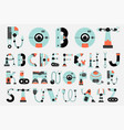 robot font collection flat design vector image