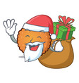 santa with gift cookies mascot cartoon style vector image