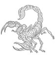 scorpion coloring page vector image vector image